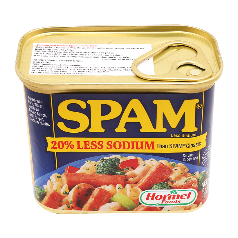 Thịt hộp Spam 20% Less Sodium 340g